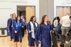 Students walking to graduation